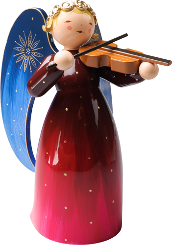 Richly Painted Angel, Large, with Violin, Red
