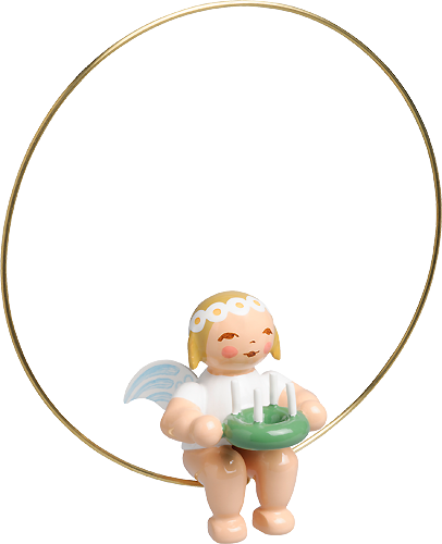 Copy of Christmas Tree Angel in Ring with Wreath (tree ornament)