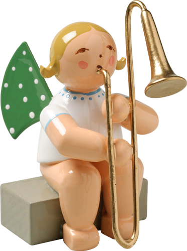 Wendt and Kuhn Grunhainichen Angel with Trombone sitting