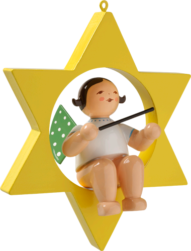 Wendt and Kuhn Ornament:  Angel with Baton in Star  3.50