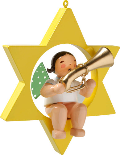 Wendt and Kuhn Ornament:  Angel with Tuba in Star 3.50