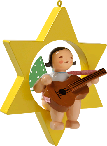Wendt and Kuhn Ornament:  Angel with Guitar in Star  3.50