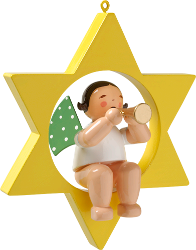 Wendt and Kuhn Ornament:  Angel with Small Trumpet in Star 3.50