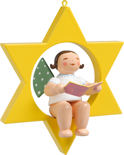 Wendt and Kuhn Ornament:  Angel with Song Book in Star  2.75