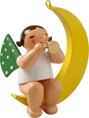 Wendt and Kuhn Ornament:  Angel with Small Trumpet in Moon  1.75