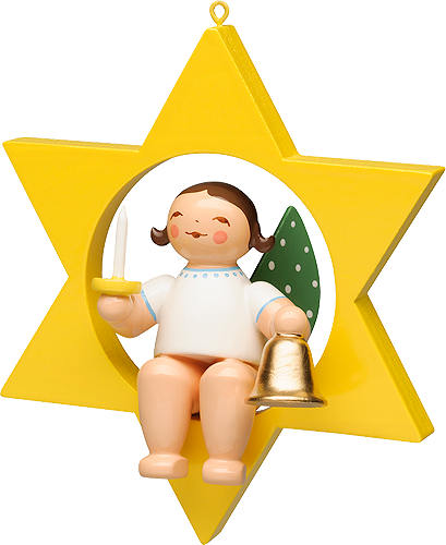 Wendt and Kuhn Ornament:  Angel with Bell and Candle in Star  2.75