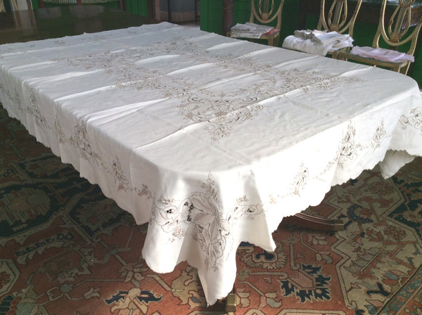 Table Cloth:  Ecru Embroidered Linen