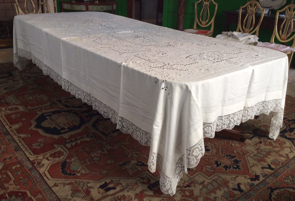 Banquet Cloth:  Antique Elaborate Cut Work and Lace with Scalloped Lace Edging