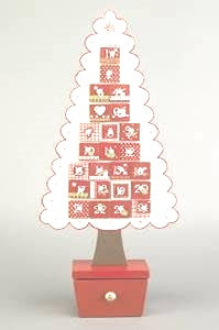 Advent Calendar:  Red and White Wooden Tree
