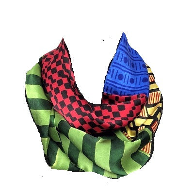 Harshita Infinity Scarf. green stripe