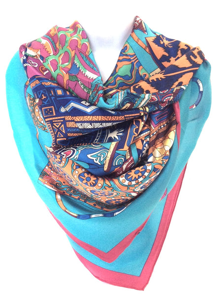 W-100% Silk Collage Scarf Blue