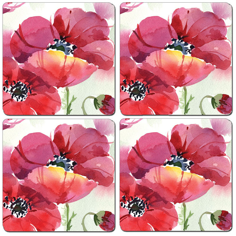 Hardboard Coasters:  Fresh Poppies