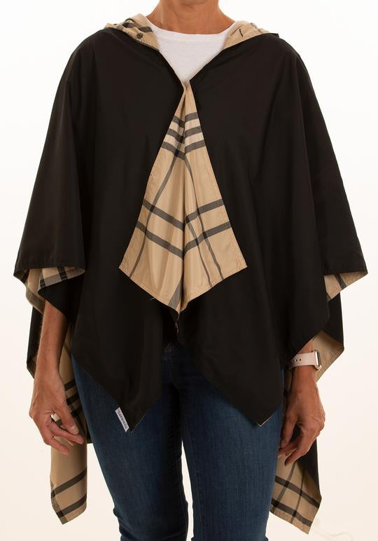 Rainrap: Waterproof poncho with pouch black/camel plaid