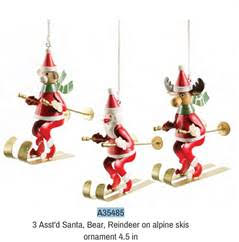 Ornament:  Asst Santa, Bear, Reindeer on Alpine Skis