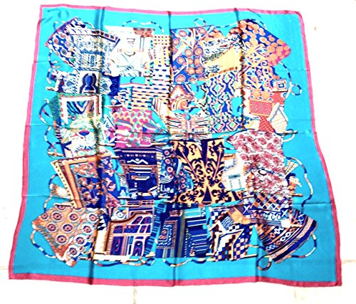 100% Silk Collage Scarf Blue