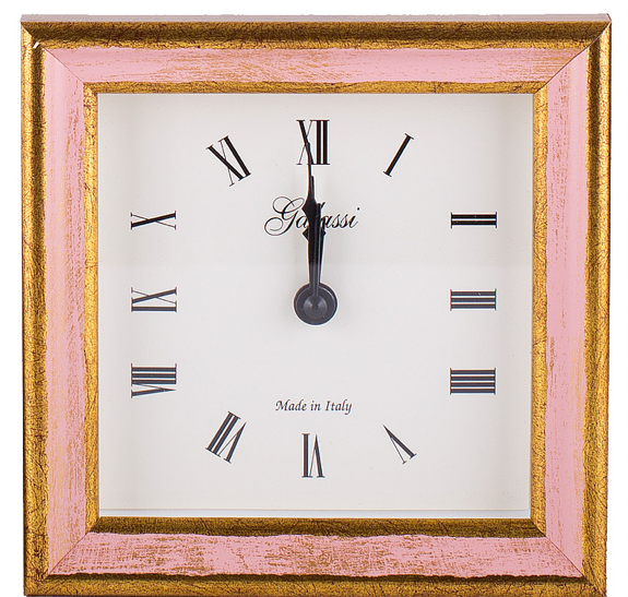 Alarm Clock Galassi Pink/Gold Wood