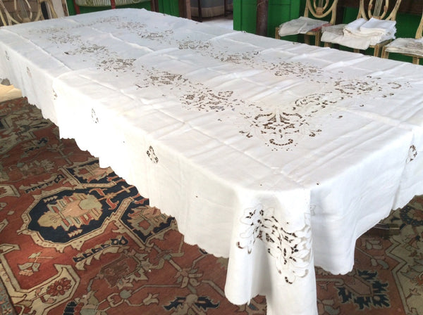 Banquet Cloth:  Ecru Handcut Linen