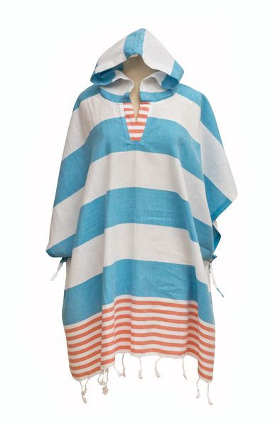 Derin Woman's Poncho Turquoise/Coral