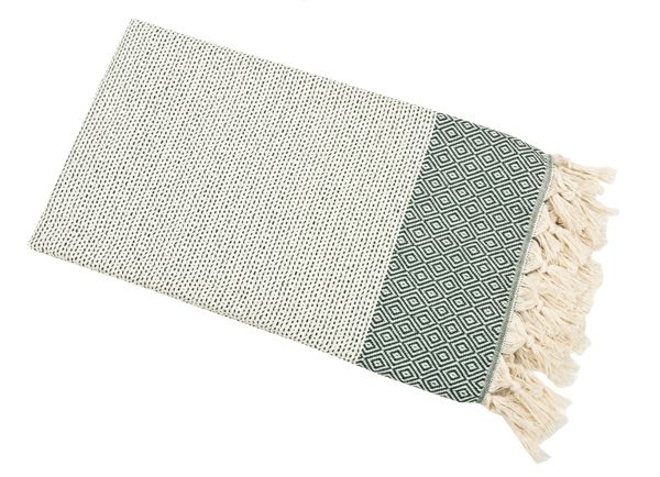Derin Diamond Weave Throw Green