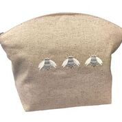 Large Natural Cosmetic Bag:  Three Napoleon Bees