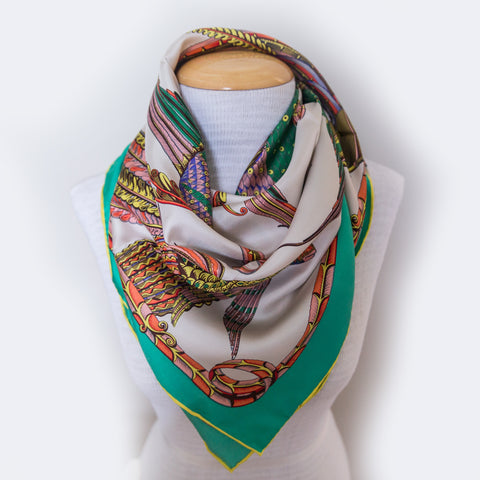 100% Silk Twill Fish and Feather Scarf Aqua