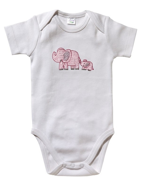 Jacaranda Short Sleeve Onsie Elephant and Baby Pink