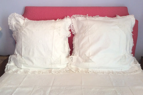 Linen Embroidered European Pillow Shams pair