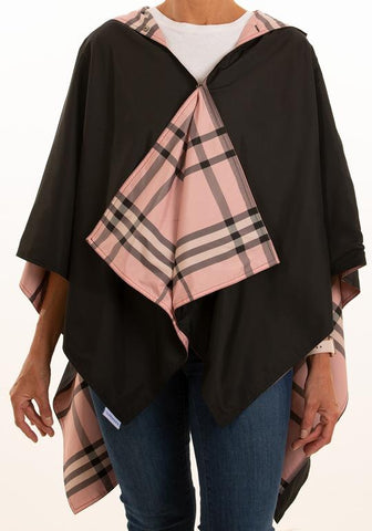 Rainrap: Waterproof poncho with pouch black/pinkplaid