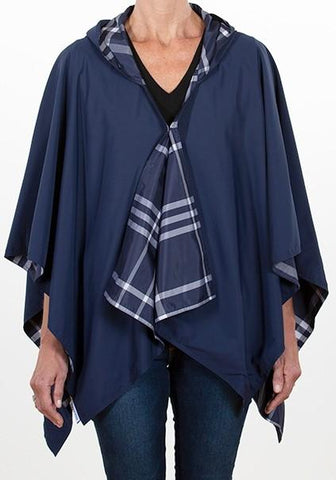 Rainrap: Waterproof poncho with pouch navy/blue plaid
