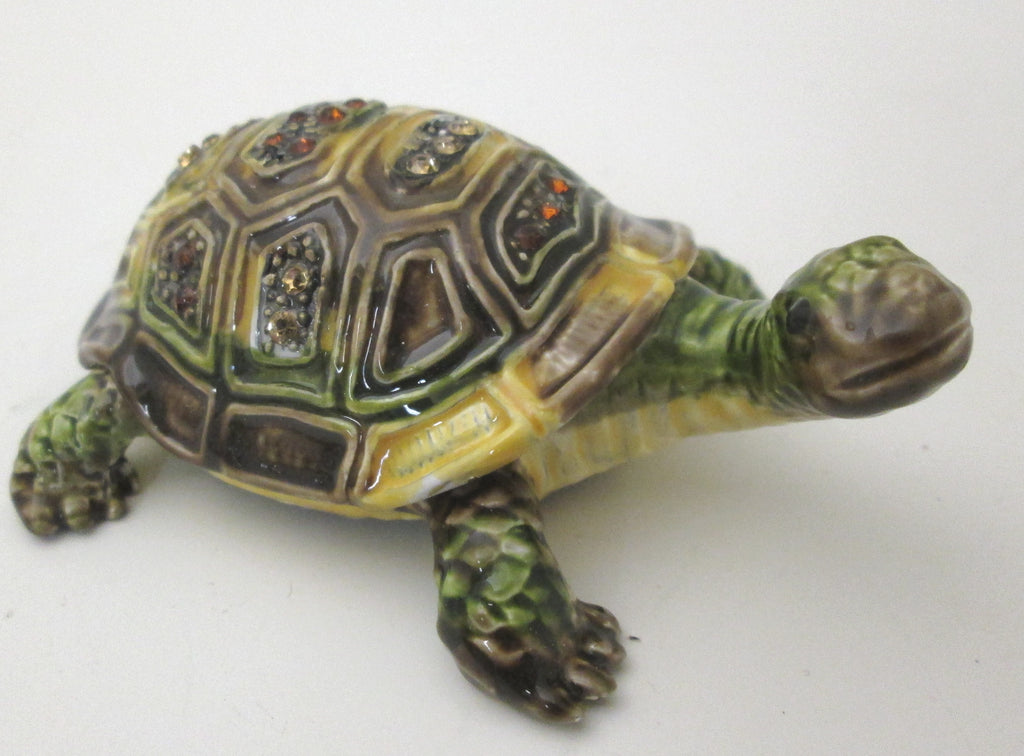 Kubla Crafts Bejeweled Topaz Sea Turtle Box