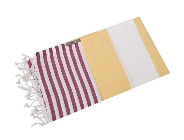 Derin Turkish Beach Towel Yellow/Pink