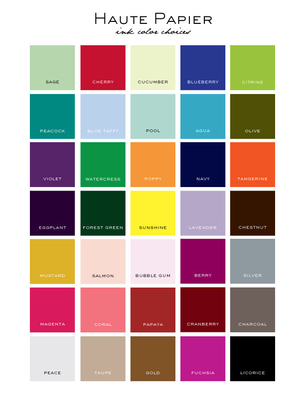 Haute Papier Ink Colors