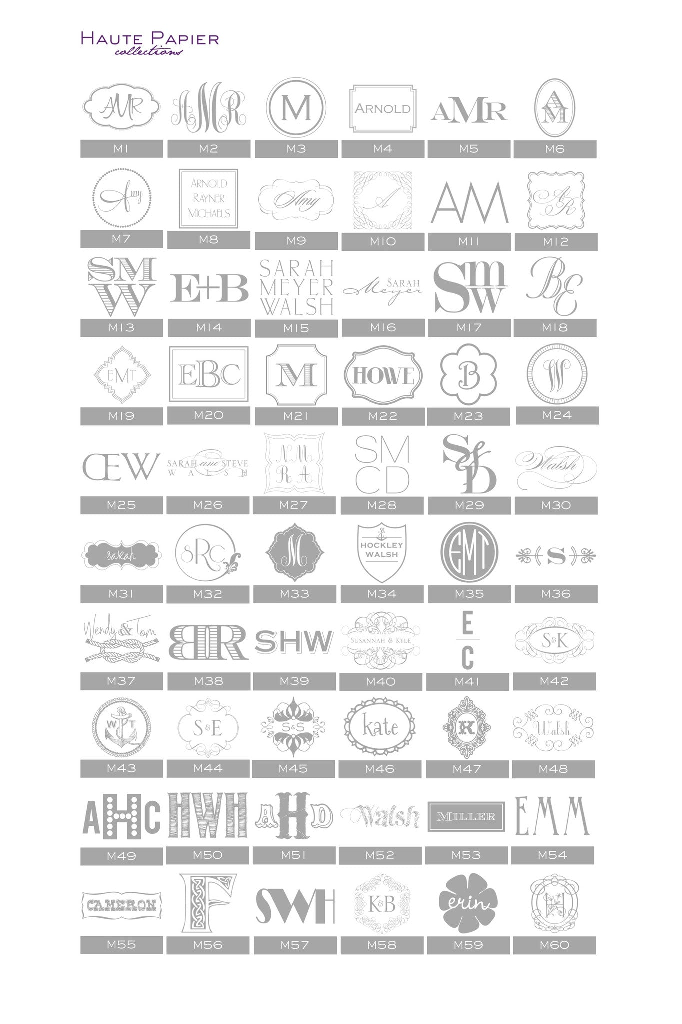 Haute Papier Monogram Options