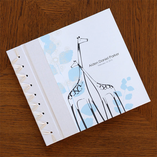Personalized Baby's First Book Blue Giraffe