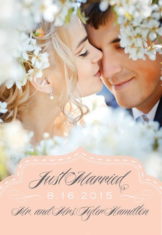 Blush Just Married Wedding Announcement