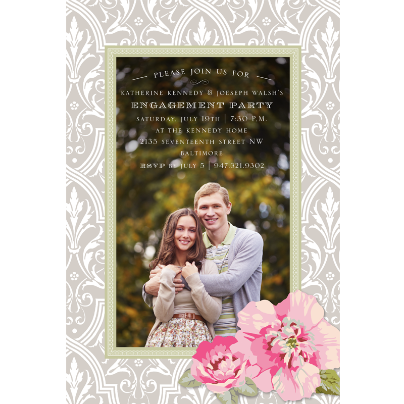 Grey Damask with Roses Save the Date