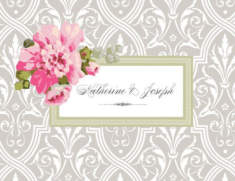 Grey Damask with Roses - Bridal Stationery
