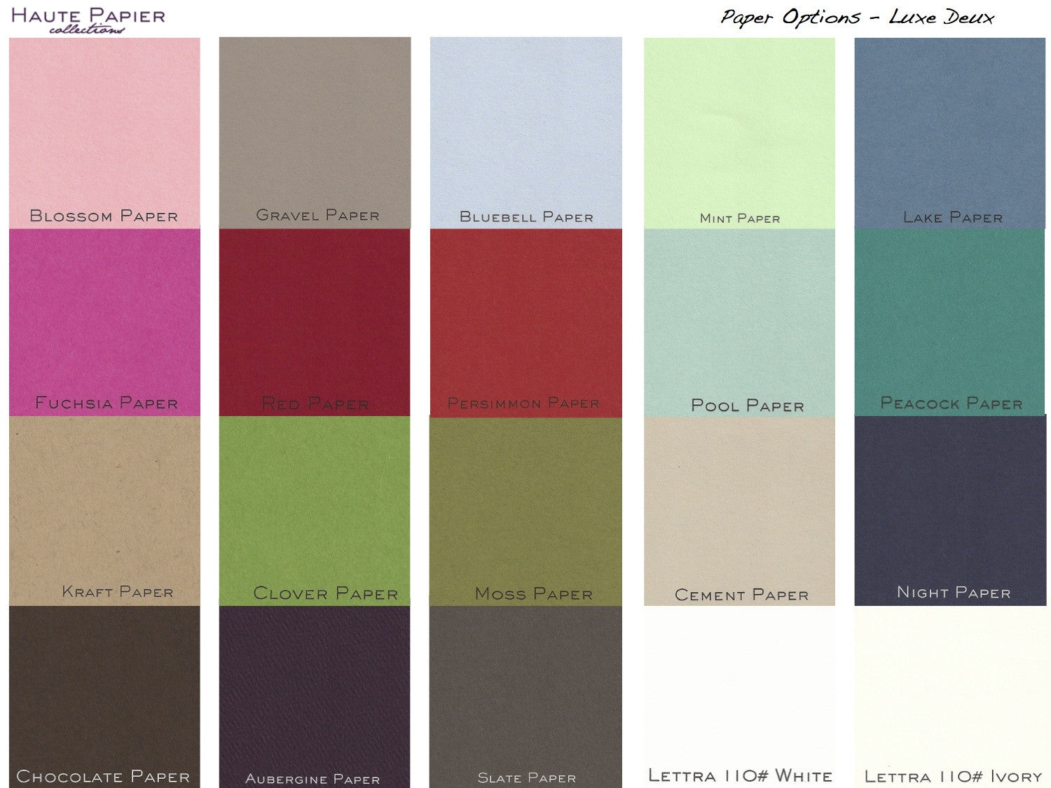Haute Papier - Paper color options