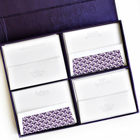 Grand Silk Stationery Box - Purple