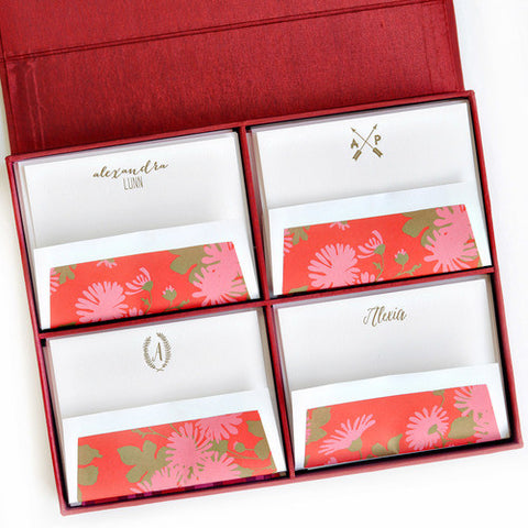 Grand Silk Stationery Box - Red