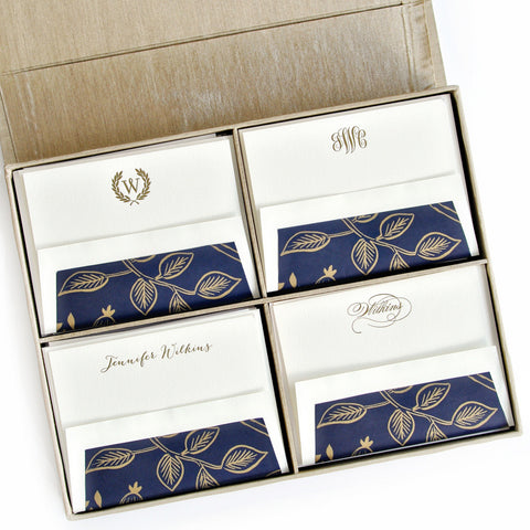 Grand Silk Stationery Box - Champagne