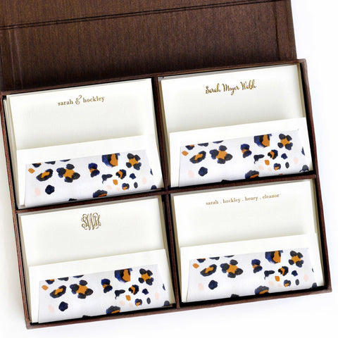 Grand Silk Stationery Box - Brown