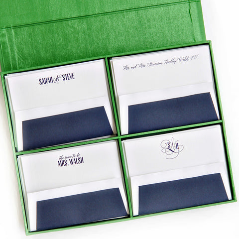 Grand Silk Stationery Box - Green