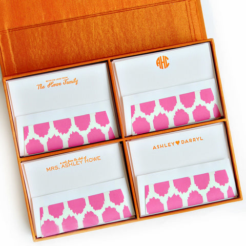 Grand Silk Stationery Box - Orange