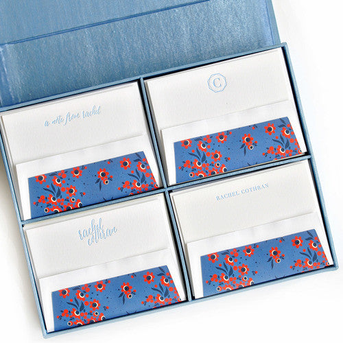 Grand Silk Stationery Box - Light Blue