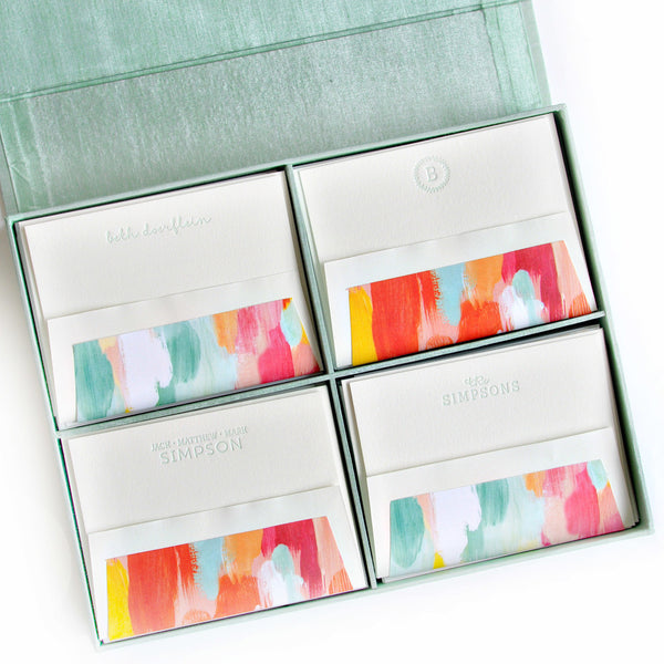 Grand Silk Stationery Box - Seafoam
