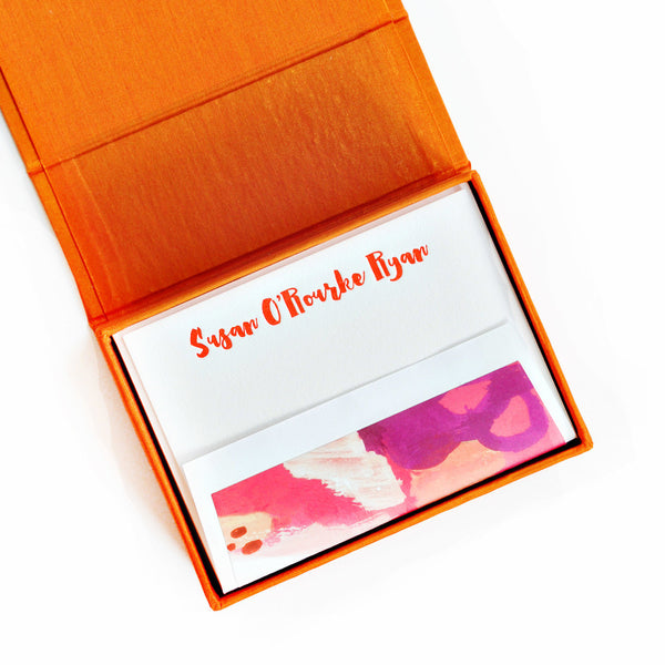 Petite Silk Stationery Box - Orange