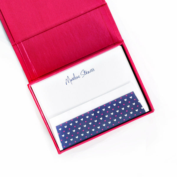 Petite Silk Stationery Box - Magenta