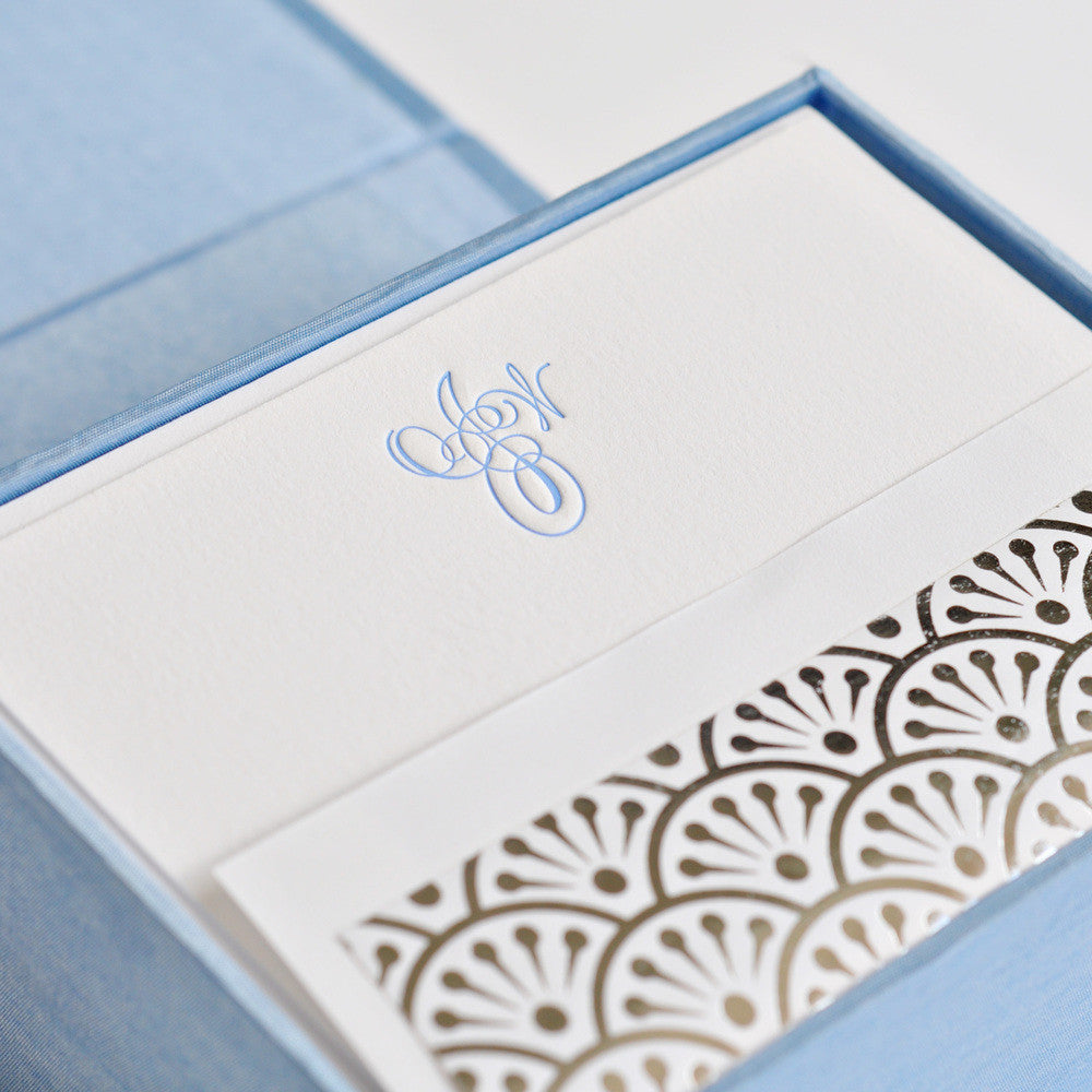 Petite Silk Stationery Box - Light Blue