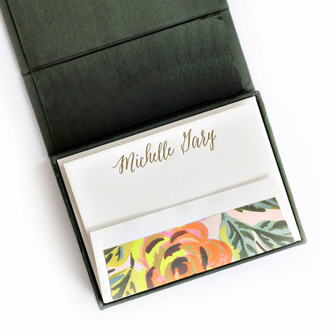 Petite Silk Stationery Box - Pine